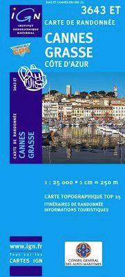 3643 ET CANNES GRASSE COTE D'AZUR 1:25.000 -TOP 25 IGN