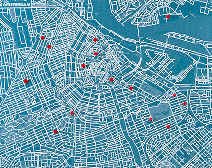 PIN CITY AMSTERDAM [BLUE LIGHT] WALL MAP DIARY -PALOMAR