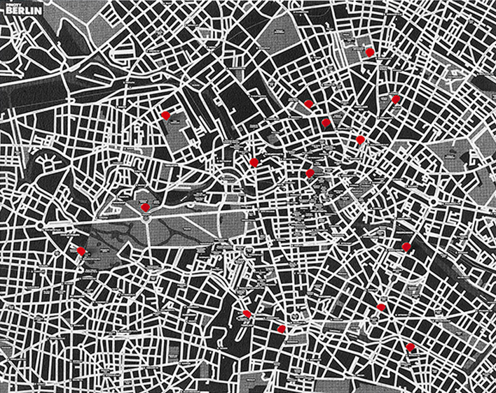 PIN CITY BERLIN [BLACK] WALL MAP DIARY -PALOMAR