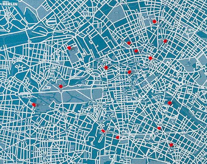 PIN CITY BERLIN [BLUE LIGHT] WALL MAP DIARY -PALOMAR