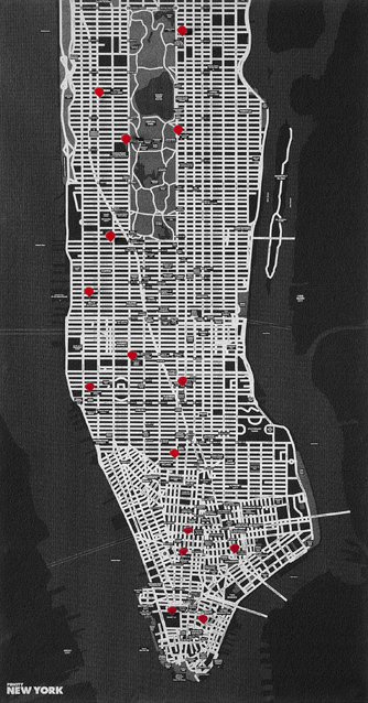PIN CITY NEW YORK [BLACK] WALL MAP DIARY -PALOMAR