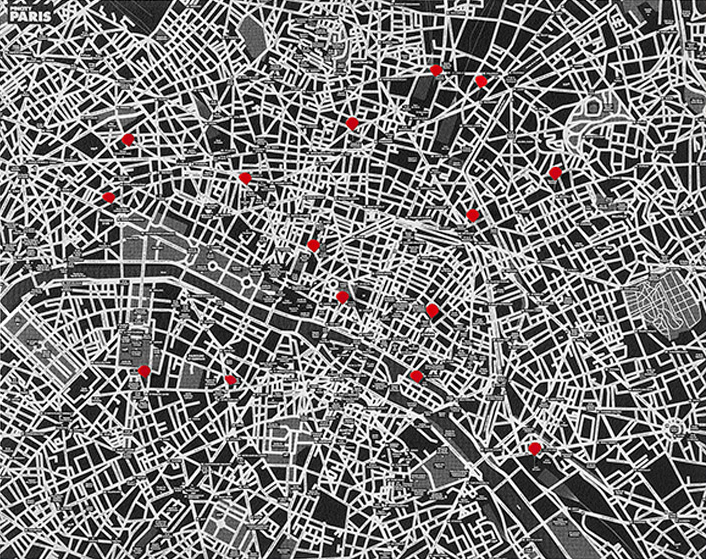 PIN CITY PARIS [BLACK] WALL MAP DIARY -PALOMAR