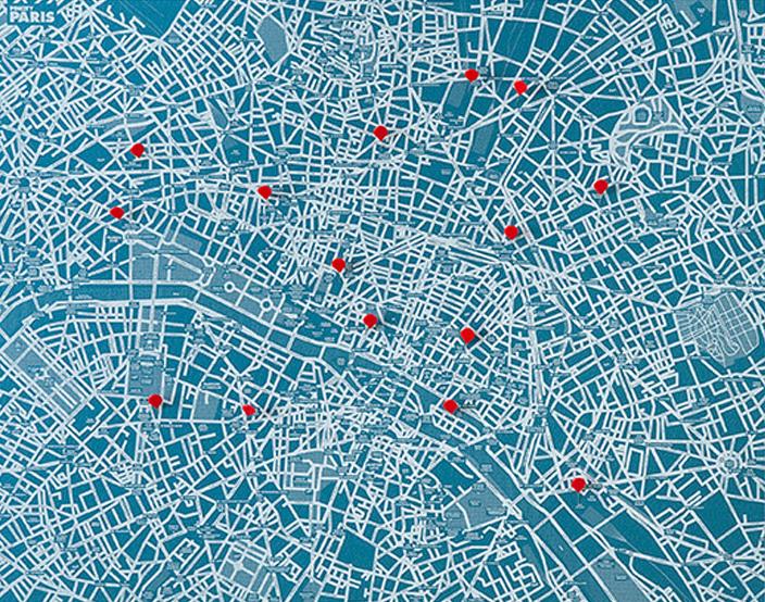 PIN CITY PARIS [BLUE LIGHT] WALL MAP DIARY -PALOMAR