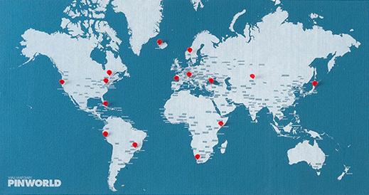 PIN WORLD [BLUE LIGHT] WALL MAP DIARY -PALOMAR