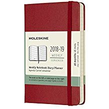 2018-2019 18M WEEKLY SCARLET RED [9X14] NOTEBOOK DIARY -MOLESKINE