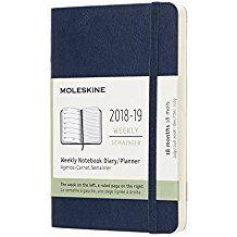 2018-2019 18M SOFT WEEKLY AZUL ZAFIRO [9X14] NOTEBOOK DIARY -MOLESKINE