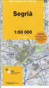 33 SEGRIÀ 1:50.000 -MAPA COMARCAL DE CATALUNYA -ICGC
