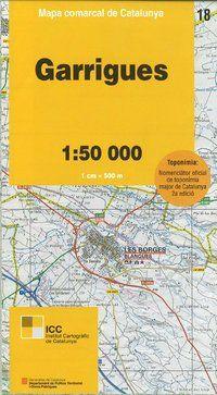 18 GARRIGUES 1:50.000 -MAPA COMARCAL CATALUNYA ICC