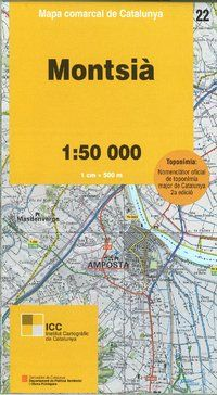 22 MONTSIA 1:50.000 -MAPA COMARCAL DE CATALUNYA