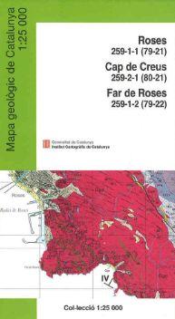 ROSES 1:25.000 CAP DE CREUS, FAR ROSES -MAPA GEOLOGIC DE CATALUNYA -ICC