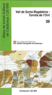 09 VALL DE SANTA MAGDALENA 1:25.000 MAPA ZONES D'ALLAUS DE CATALUNYA -ICC