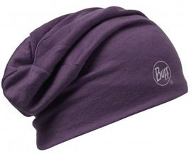 111174.622 MERINO WOOL 2 LAYERS HAT/SOLID PLUM- BUFF
