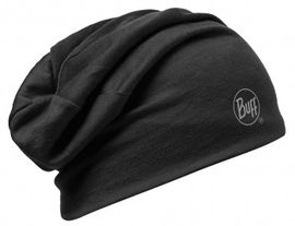 111174.999 MERINO WOOL 2 LAYERS HAT/SOLID BLACK- BUFF