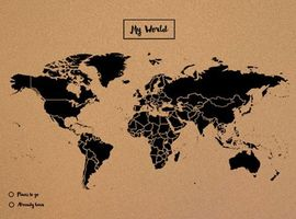 WOODY MAP -L NEGRO [MAPA DE CORCHO MURAL][60X45] -MISS WOOD