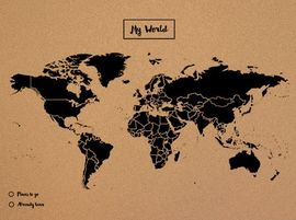 WOODY MAP -XL NEGRO [MAPA DE CORCHO MURAL] [90X60] -MISS WOOD