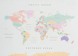 WOODY MAP WATERCOLOR -XL RETRO [MAPA DE CORCHO MURAL][90X60] -MISS WOOD