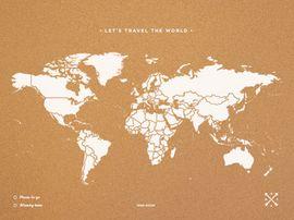 WOODY MAP -XXXL BLANCO [MAPA DE CORCHO MURAL] [180X90] -MISS WOOD