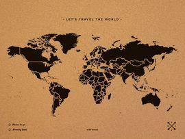 WOODY MAP -XXXL NEGRO [MAPA DE CORCHO MURAL] [180X90] -MISS WOOD