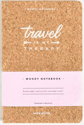 TRAVEL IS MY THERAPY A5 WOODY NOTEBOOK CORK [LIBRETA TAPS DE CORCHO] -MISS WOOD
