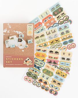 STICKERS SET [CAJA] -ANIMALS OF THE WORLD -MISS WOOD