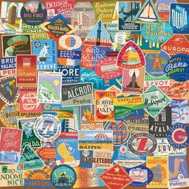 VINTAGE TRAVEL LUGGAGE LABELS [PUZZLE] 500 PIECES