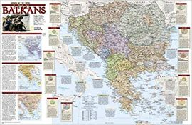 BALKANS REFERENCE MAP [MURAL] 1:2.850.000- NATIONAL GEOGRAPHIC