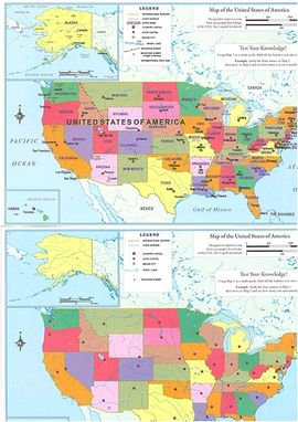 [2 MAPAS LAMINA] MAP OF THE UNITED STATES OF AMERICA -ITMB