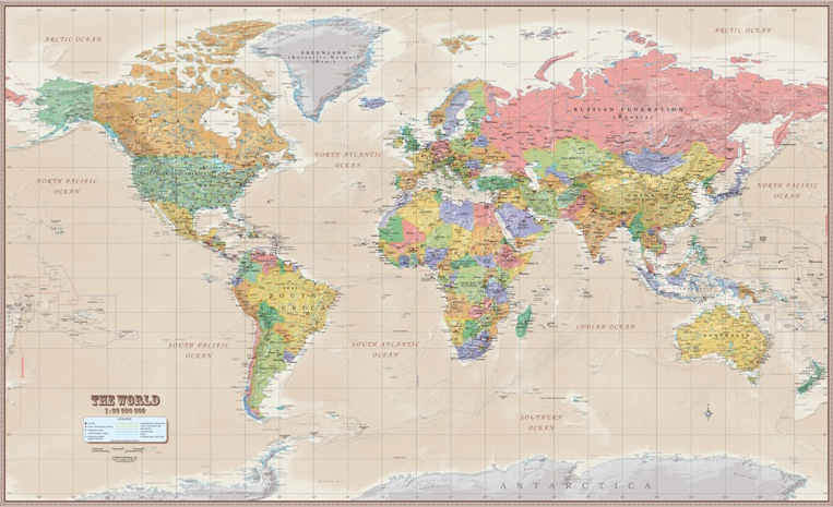 WORLD WALL MAP [MURAL] (ANTIQUE VERSIÓN) 1:30.000.000 -ITMB