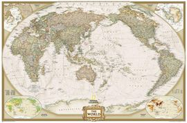 1020327 WORLD EXECUTIVE PETIT PACIFIC CENTERED (ENG) [MURAL] 1:36.384.000 -NATIONAL GEOGRAPHIC