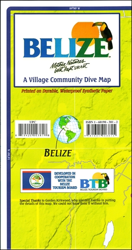 BELIZE. A VILLAGE COMMUNITY DIVE MAP -FRANKO MAP