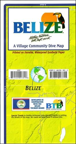 BELIZE. A VILLAGE COMMUNITY DIVE MAP -FRANKO MAP