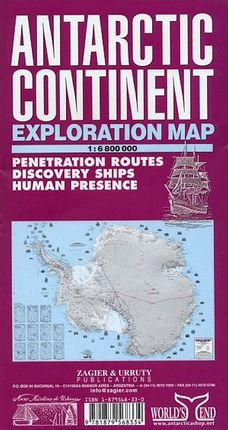 ANTARCTIC CONTINENT 1:6.800.000 EXPLORATION MAP -ZAGIER