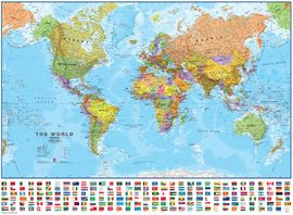 WORLD POLITICAL, THE [MURAL PLASTIFICADO] WITH FLAGS [ENG] 1:30.000.000 -TIMAPS