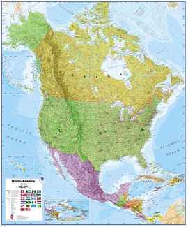 NORTH AMERICA 1:7.000.000 MURAL [ENG] -TIMAPS