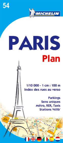 54 PARIS PLAN 1.10.000 (INDEX DES RUES AU VERSO) -MICHELIN
