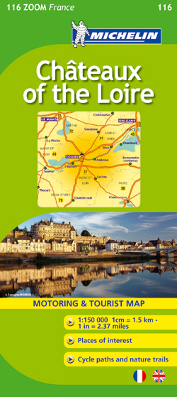 116 CHATEAUX OF THE LOIRE 1:100.000 -MICHELIN MAPA ZOOM