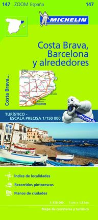 147 COSTA  BRAVA, BARCELONA Y ALREDEDORES 1:150.000 MICHELIN ZOOM