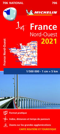 706 FRANCIA NORD-OUEST 2021 1:500.000 -MICHELIN