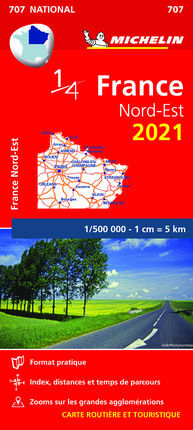 707 FRANCE NORD-EST 2021 1:500.000 -MICHELIN
