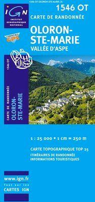 1546 OT OLORON-STE-MARIE, VALLEE D'ASPE 1:25.000 -TOP 25 IGN