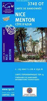 3742 OT NICE MENTON COTE D'AZUR 1:25.000 -TOP 25 IGN