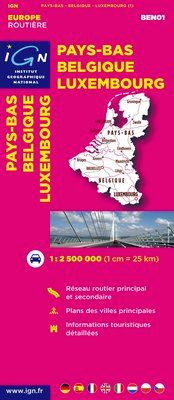 PAYS-BAS, BELGIQUE, LUXEMBOURG 1:300.000 -EUROPE ROUTIERE IGN