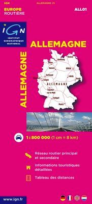 ALLEMAGNE 1:800.000 -EUROPE ROUTIERE IGN