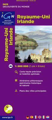 ROYAUME-UNI. IRLANDE 1:800.000 -IGN DECOUVERTE DES PAYS DU MONDE