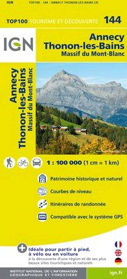 144 ANNECY THONON-LES-BAINS 1:100.000 -TOP 100 IGN