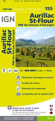155 AURILLAC ST-FLOUR 1:100.000 -TOP 100 IGN