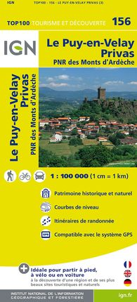 156 LE PUY-EN-VELAY PRIVAS 1:100.000 -TOP 100 IGN