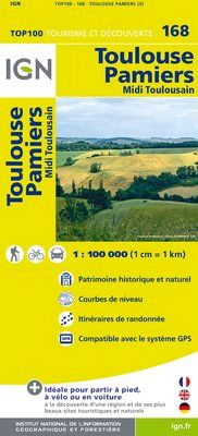 168 TOULOUSE PAMIERS 1:100.000 -TOP 100 IGN