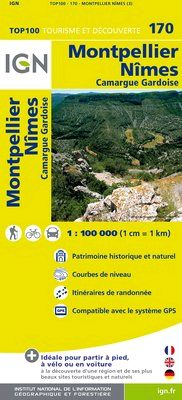 170 MONTPELLIER NIMES 1:100.000 -TOP 100 IGN