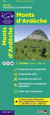MONTS D'ARDECHE 1:75.000 -TOP 75 IGN